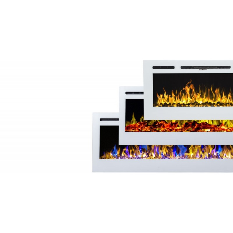 """MAJESTIC 36"""" biały- Kominek elektryczny LED ścienny AFLAMO - MODEL 2019"""