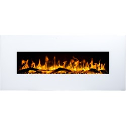 "Albion 50"" blanco- chimenea eléctrica de pared LED AFLAMO"